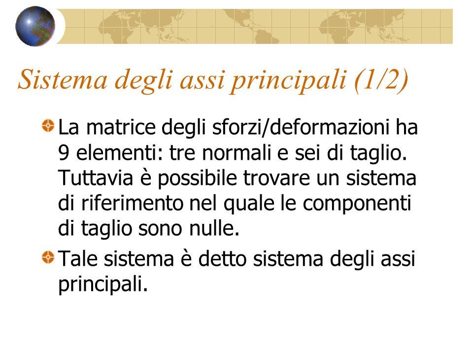 Sistema degli assi principali (1/2) La matrice degli sforzi/deformazioni ha 9 elementi: tre normali e sei di taglio. Tuttavia è possibile trovare un s