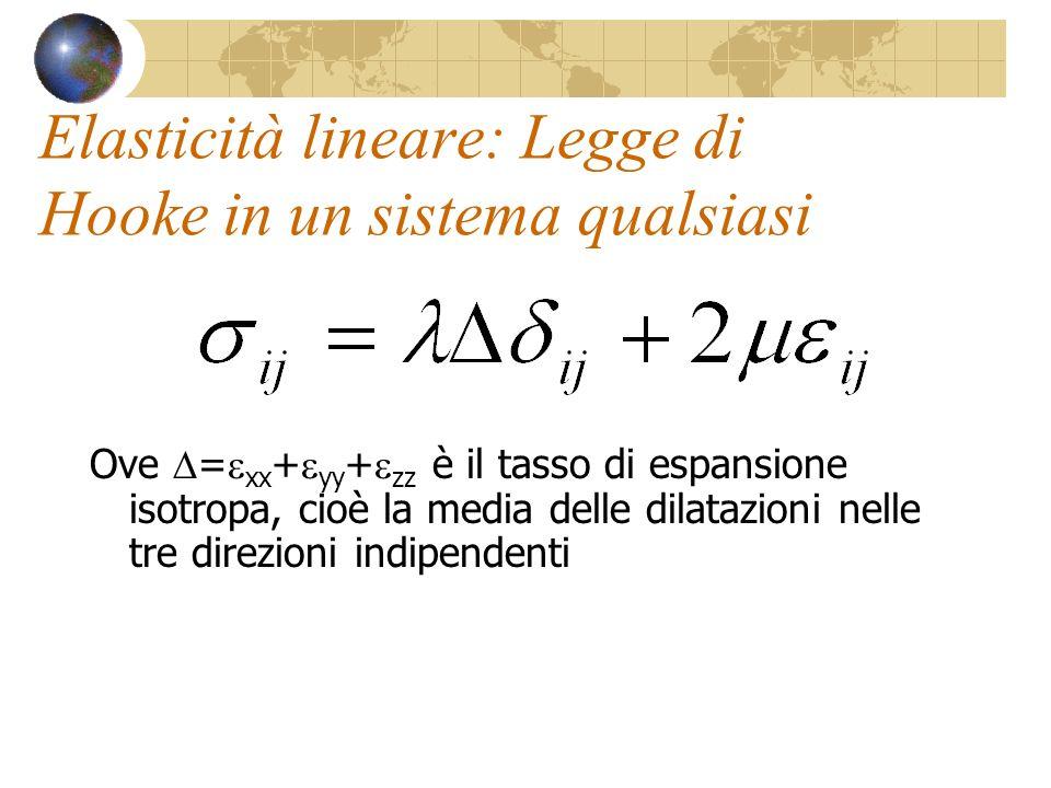 Elasticità lineare: Legge di Hooke in un sistema qualsiasi Ove = xx + yy + zz è il tasso di espansione isotropa, cioè la media delle dilatazioni nelle