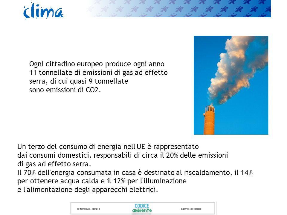 Ogni cittadino europeo produce ogni anno 11 tonnellate di emissioni di gas ad effetto serra, di cui quasi 9 tonnellate sono emissioni di CO2.