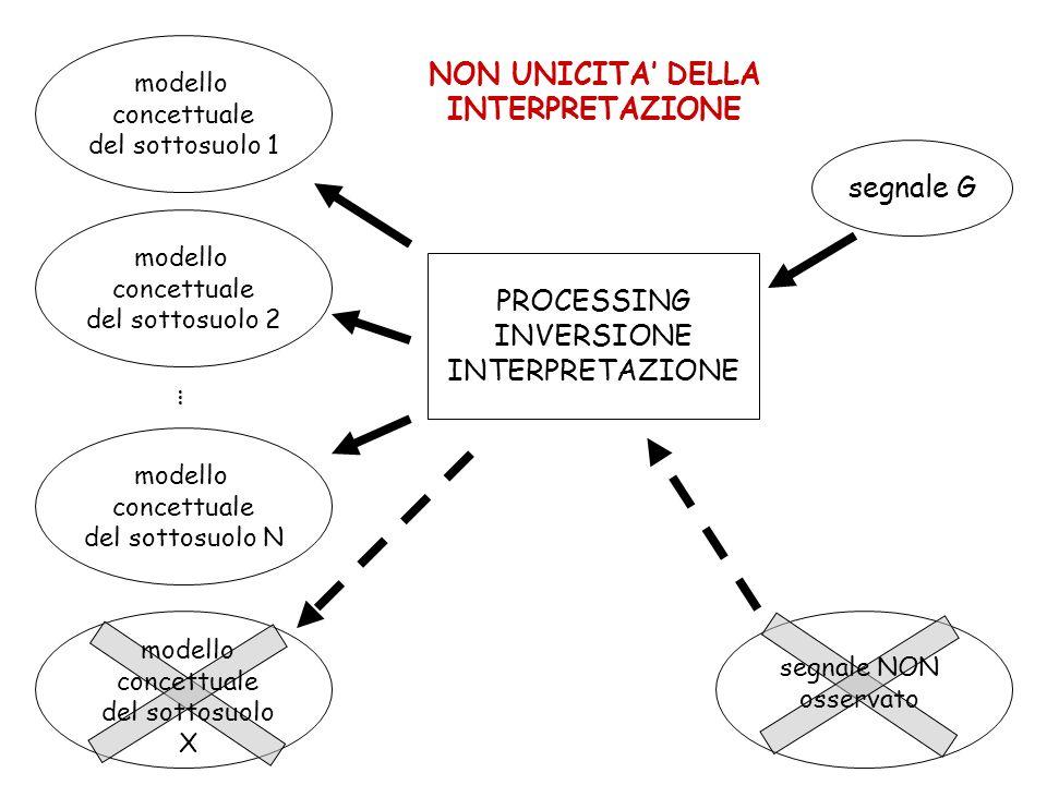 NON UNICITA DELLA INTERPRETAZIONE segnale G PROCESSING INVERSIONE INTERPRETAZIONE modello concettuale del sottosuolo 1 modello concettuale del sottosuolo 2 modello concettuale del sottosuolo N segnale NON osservato modello concettuale del sottosuolo X …