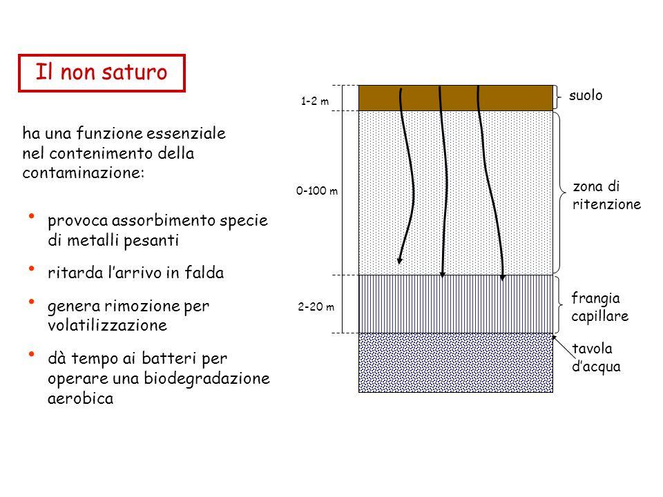 ha una funzione essenziale nel contenimento della contaminazione: frangia capillare zona di ritenzione suolo 1-2 m 0-100 m 2-20 m tavola dacqua provoca assorbimento specie di metalli pesanti ritarda larrivo in falda genera rimozione per volatilizzazione dà tempo ai batteri per operare una biodegradazione aerobica Il non saturo