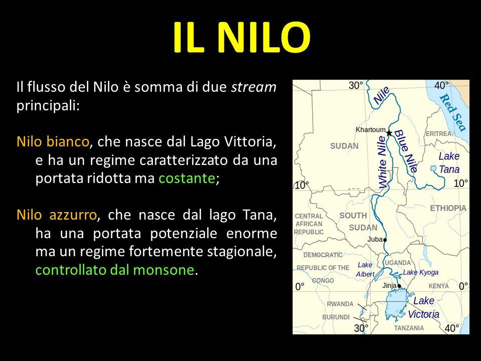 Il flusso del Nilo è somma di due stream principali: Nilo bianco, che nasce dal Lago Vittoria, e ha un regime caratterizzato da una portata ridotta ma