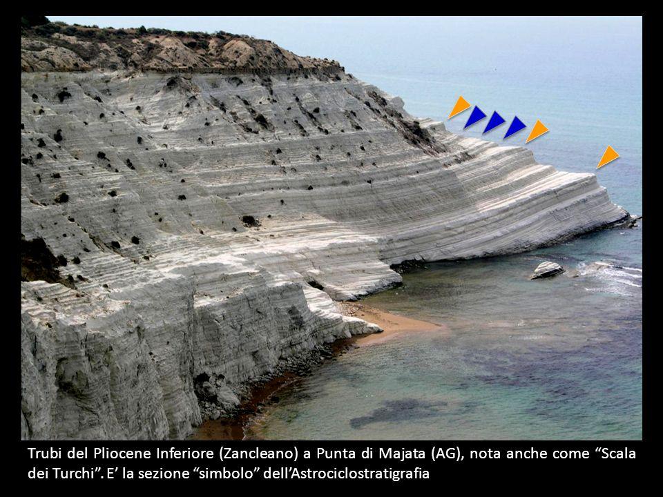 Trubi del Pliocene Inferiore (Zancleano) a Punta di Majata (AG), nota anche come Scala dei Turchi. E la sezione simbolo dellAstrociclostratigrafia