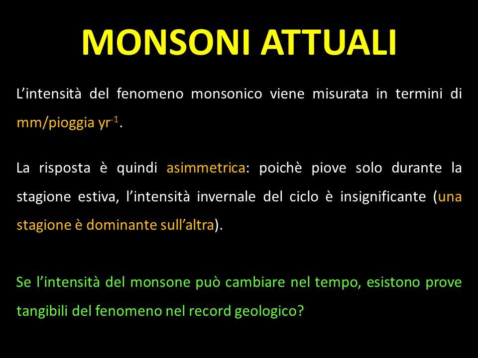 MONSONI ATTUALI Lintensità del fenomeno monsonico viene misurata in termini di mm/pioggia yr -1. La risposta è quindi asimmetrica: poichè piove solo d