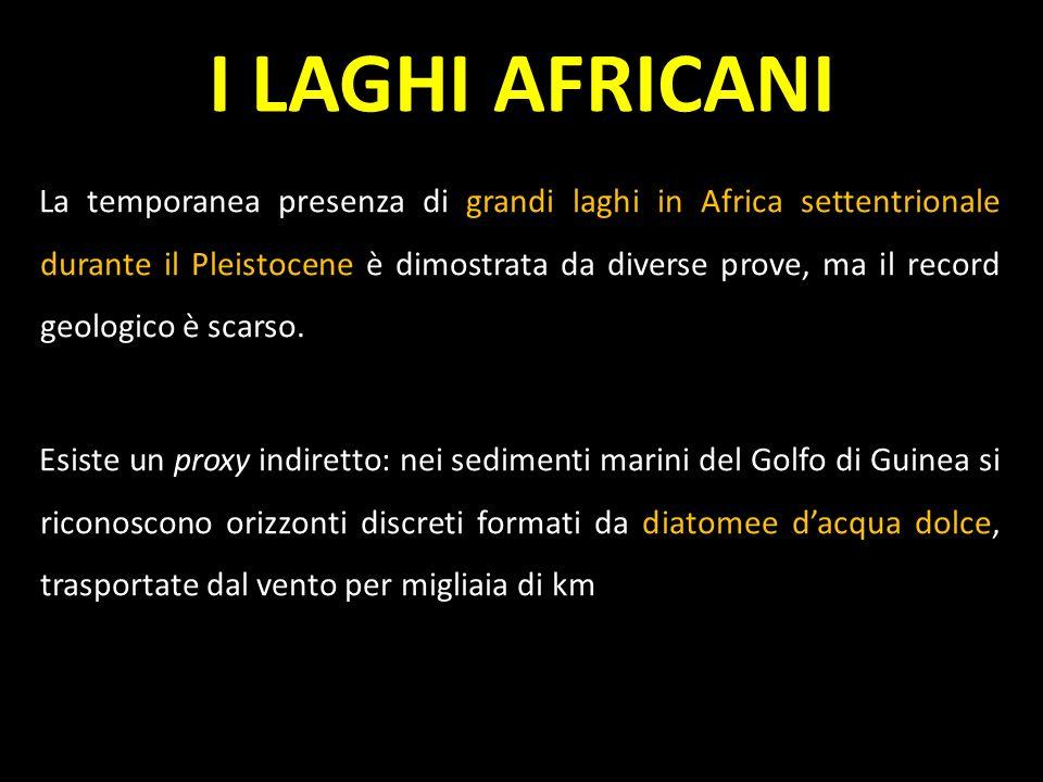 La temporanea presenza di grandi laghi in Africa settentrionale durante il Pleistocene è dimostrata da diverse prove, ma il record geologico è scarso.