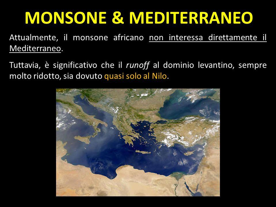 Attualmente, il monsone africano non interessa direttamente il Mediterraneo. Tuttavia, è significativo che il runoff al dominio levantino, sempre molt