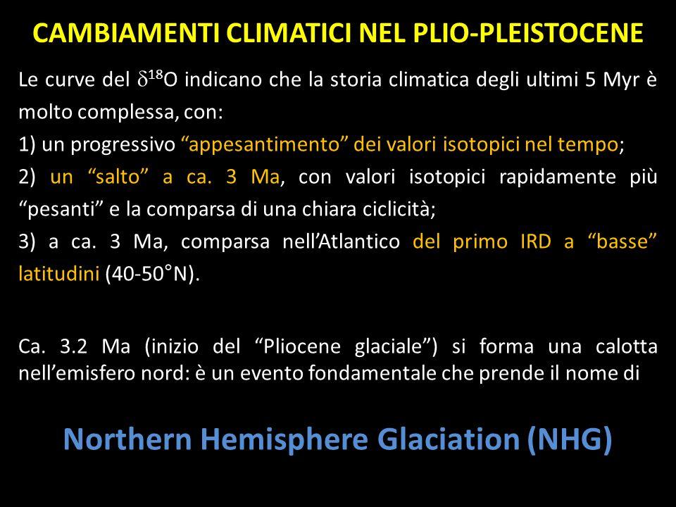CAMBIAMENTI CLIMATICI NEL PLIO-PLEISTOCENE Le curve del 18 O indicano che la storia climatica degli ultimi 5 Myr è molto complessa, con: 1) un progres