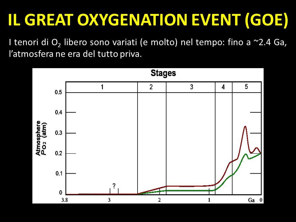 I tenori di O 2 libero sono variati (e molto) nel tempo: fino a ~2.4 Ga, latmosfera ne era del tutto priva. IL GREAT OXYGENATION EVENT (GOE)