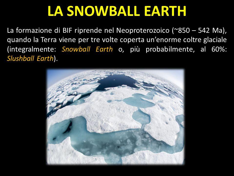 LA SNOWBALL EARTH La formazione di BIF riprende nel Neoproterozoico (~850 – 542 Ma), quando la Terra viene per tre volte coperta unenorme coltre glaciale (integralmente: Snowball Earth o, più probabilmente, al 60%: Slushball Earth).