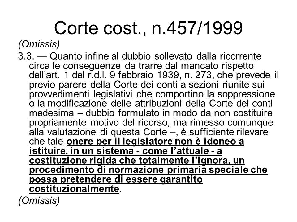 Corte cost., n.457/1999 (Omissis) 3.3. Quanto infine al dubbio sollevato dalla ricorrente circa le conseguenze da trarre dal mancato rispetto dellart.
