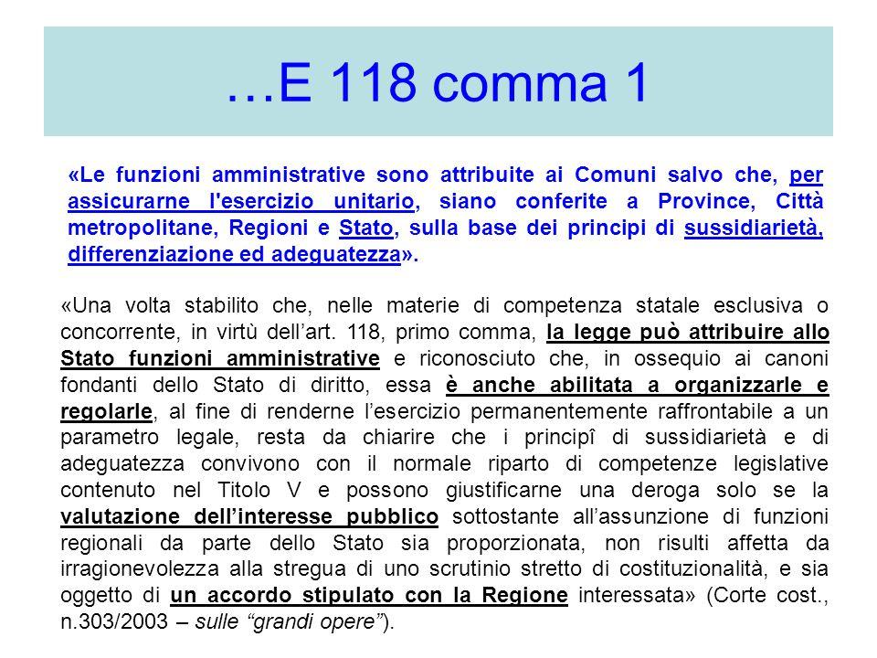 …E 118 comma 1 «Una volta stabilito che, nelle materie di competenza statale esclusiva o concorrente, in virtù dellart. 118, primo comma, la legge può