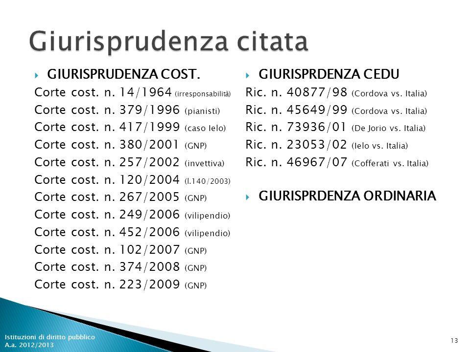 GIURISPRUDENZA COST. Corte cost. n. 14/1964 (irresponsabilità) Corte cost. n. 379/1996 (pianisti) Corte cost. n. 417/1999 (caso Ielo) Corte cost. n. 3