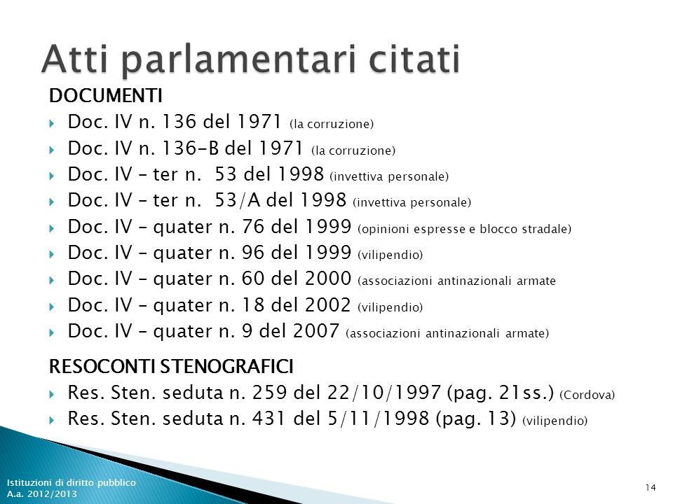 DOCUMENTI Doc. IV n. 136 del 1971 (la corruzione) Doc. IV n. 136-B del 1971 (la corruzione) Doc. IV – ter n. 53 del 1998 (invettiva personale) Doc. IV