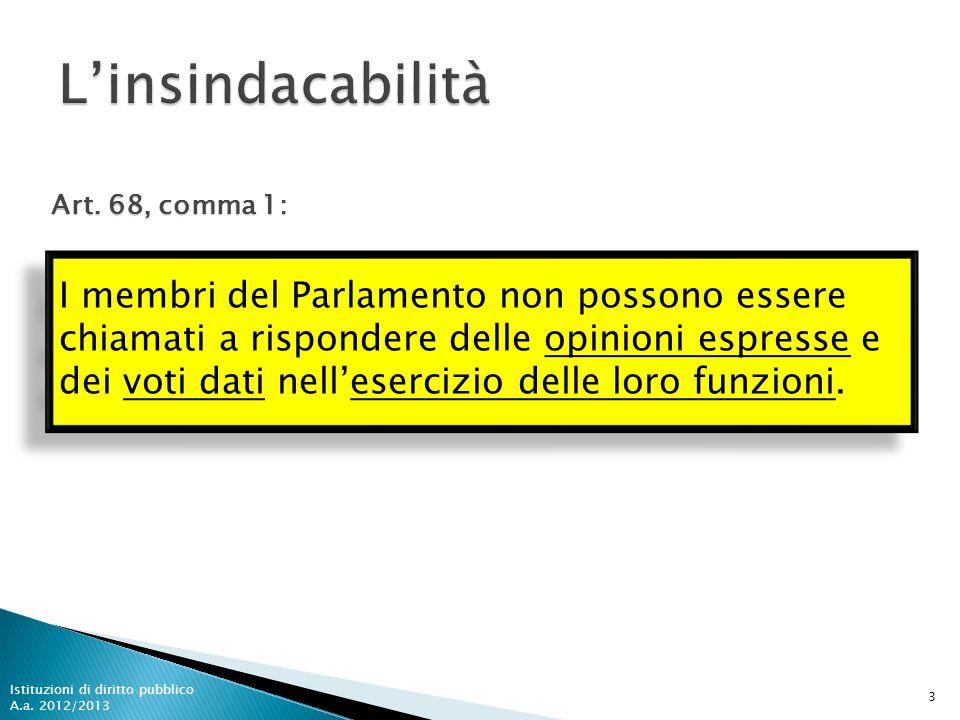I membri del Parlamento non possono essere chiamati a rispondere delle opinioni espresse e dei voti dati nellesercizio delle loro funzioni. 3 Istituzi