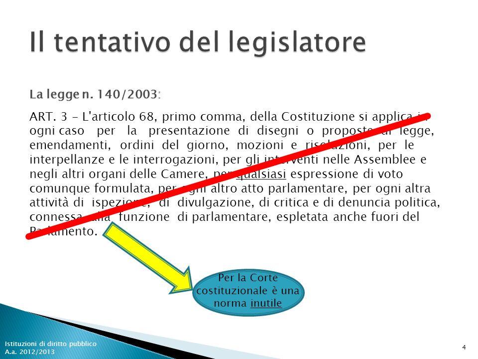 Per la Corte costituzionale è una norma inutile 4 ART. 3 - L'articolo 68, primo comma, della Costituzione si applica in ogni caso per la presentazione