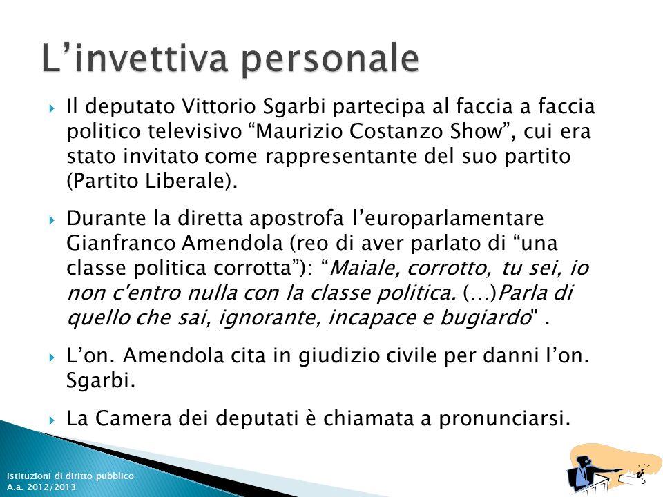 Il deputato Vittorio Sgarbi partecipa al faccia a faccia politico televisivo Maurizio Costanzo Show, cui era stato invitato come rappresentante del su