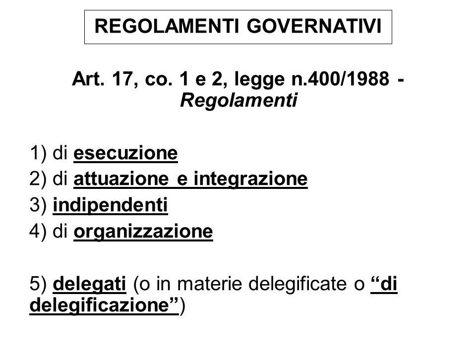 REGOLAMENTI MINISTERIALI Art.17, co. 3 e 4, legge n.400/1988 - Regolamenti (Omissis) 3.