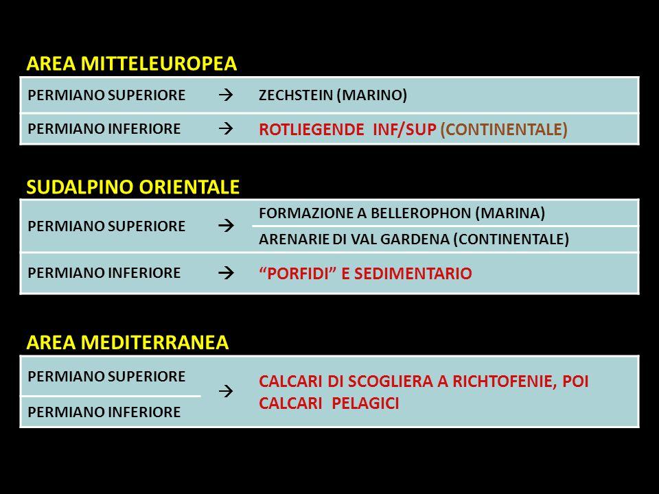 PERMIANO SUPERIORE ZECHSTEIN (MARINO) PERMIANO INFERIORE ROTLIEGENDE INF/SUP (CONTINENTALE) PERMIANO SUPERIORE FORMAZIONE A BELLEROPHON (MARINA) ARENA