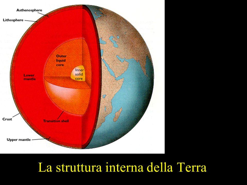 Crosta 5- km sotto gli oceani, variabile da 40 km a 75 km sotto i continenti, Vp ~ 6 – 7 km/s, Vs ~ Vp/2 Crosta continentale: composizione media granitica con base gabbrica.