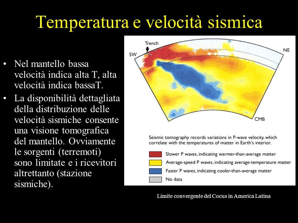 Temperatura e velocità sismica Nel mantello bassa velocità indica alta T, alta velocità indica bassaT. La disponibilità dettagliata della distribuzion