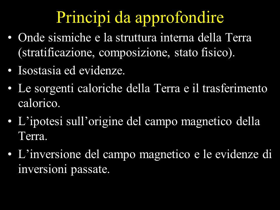 Principi da approfondire Onde sismiche e la struttura interna della Terra (stratificazione, composizione, stato fisico). Isostasia ed evidenze. Le sor