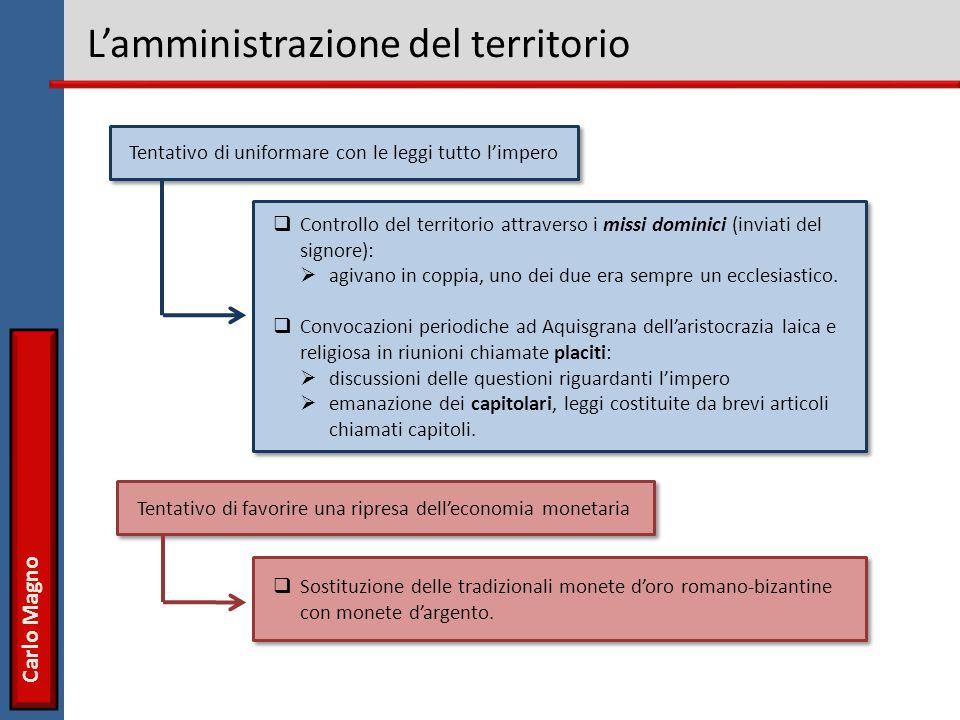 Carlo Magno Lamministrazione del territorio Controllo del territorio attraverso i missi dominici (inviati del signore): agivano in coppia, uno dei due