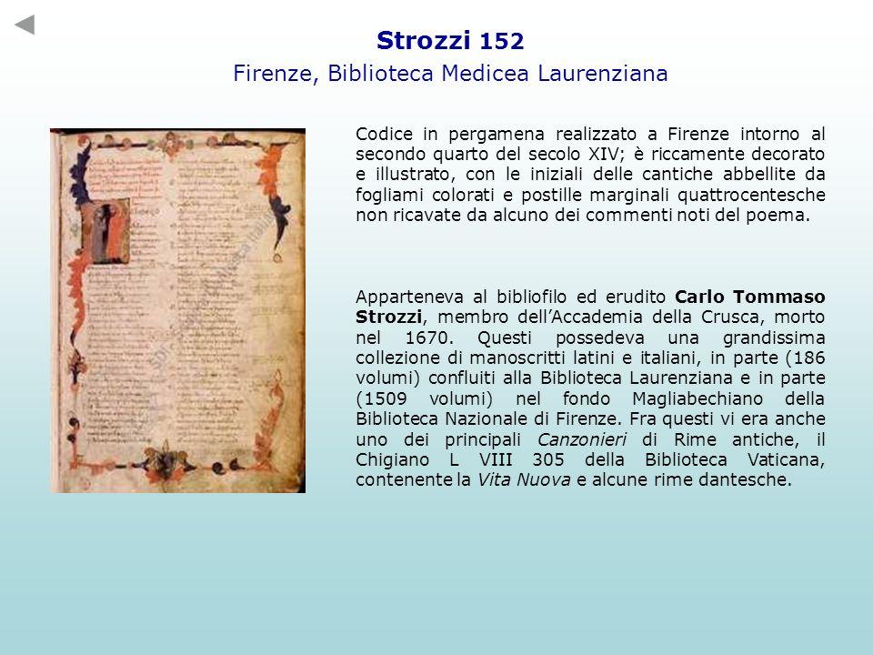 Codice in pergamena realizzato a Firenze intorno al secondo quarto del secolo XIV; è riccamente decorato e illustrato, con le iniziali delle cantiche