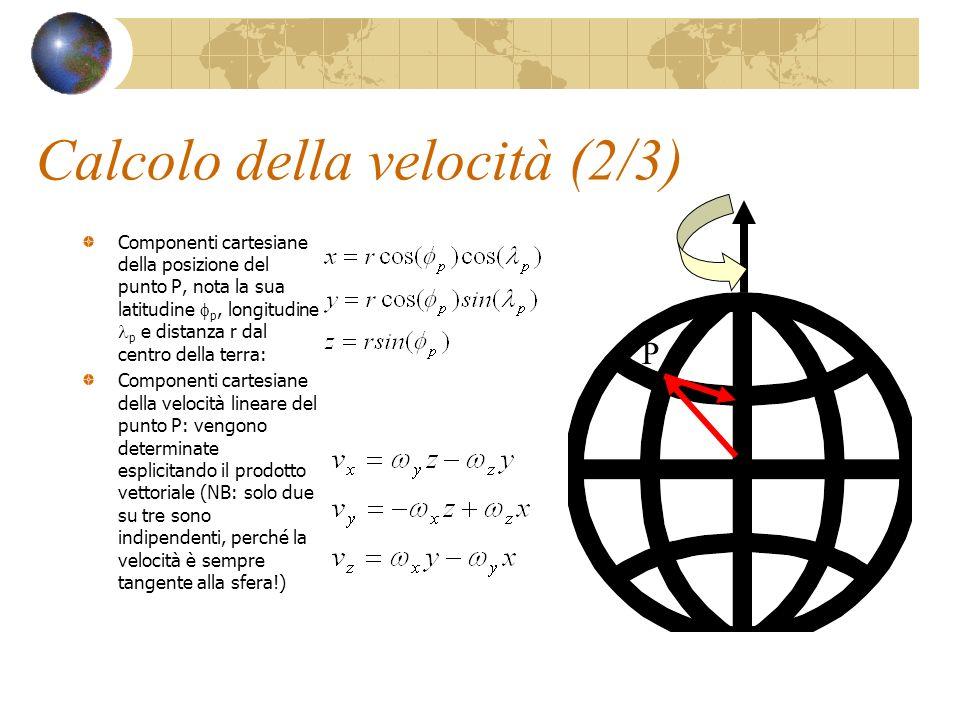 Calcolo della velocità (2/3) Componenti cartesiane della posizione del punto P, nota la sua latitudine p, longitudine p e distanza r dal centro della