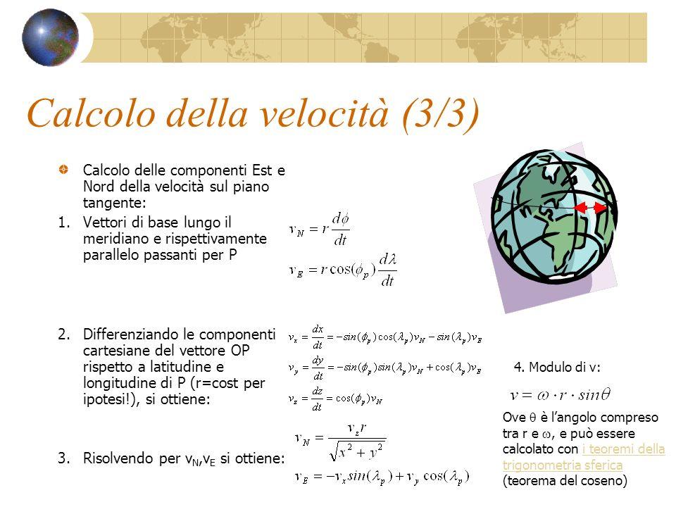 Calcolo della velocità (3/3) Calcolo delle componenti Est e Nord della velocità sul piano tangente: 1.Vettori di base lungo il meridiano e rispettivam