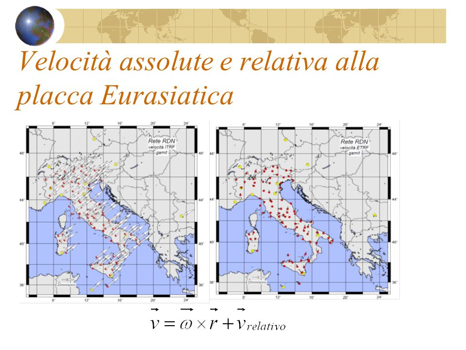 Velocità assolute e relativa alla placca Eurasiatica