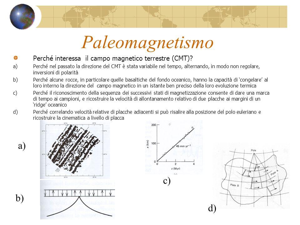 Paleomagnetismo Perché interessa il campo magnetico terrestre (CMT)? a)Perché nel passato la direzione del CMT è stata variabile nel tempo, alternando