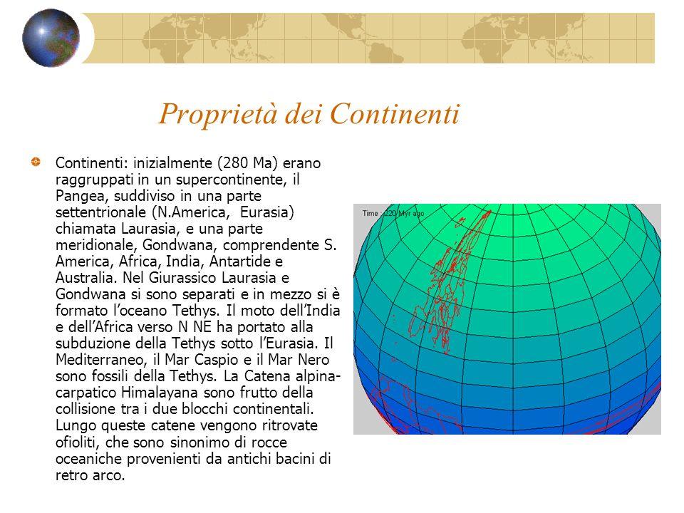 Proprietà dei Continenti Continenti: inizialmente (280 Ma) erano raggruppati in un supercontinente, il Pangea, suddiviso in una parte settentrionale (