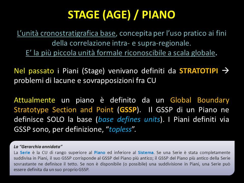 STAGE (AGE) / PIANO Lunità cronostratigrafica base, concepita per luso pratico ai fini della correlazione intra- e supra-regionale. E la più piccola u