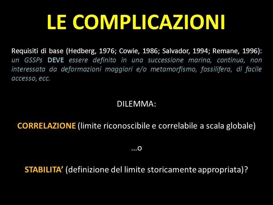 Requisiti di base (Hedberg, 1976; Cowie, 1986; Salvador, 1994; Remane, 1996): un GSSPs DEVE essere definito in una successione marina, continua, non i
