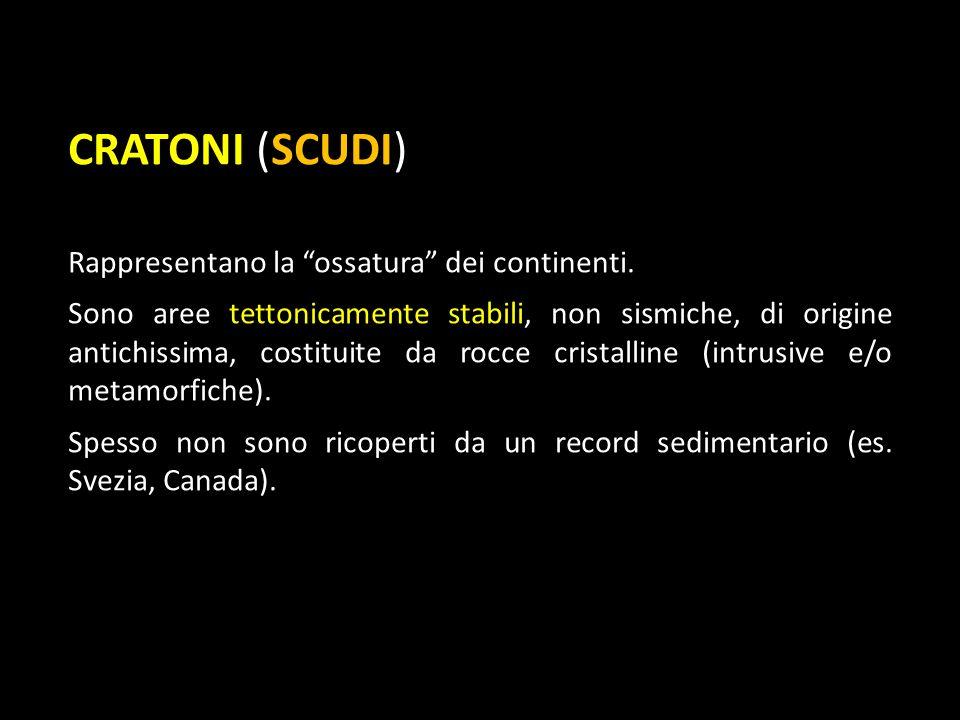 CRATONI (SCUDI) Rappresentano la ossatura dei continenti. Sono aree tettonicamente stabili, non sismiche, di origine antichissima, costituite da rocce