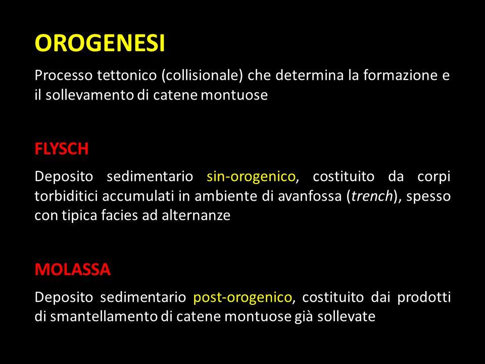 OROGENESI Processo tettonico (collisionale) che determina la formazione e il sollevamento di catene montuose FLYSCH Deposito sedimentario sin-orogenic