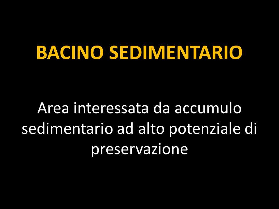 BACINO SEDIMENTARIO Area interessata da accumulo sedimentario ad alto potenziale di preservazione