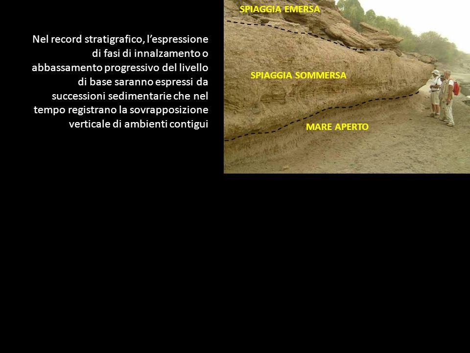 Nel record stratigrafico, lespressione di fasi di innalzamento o abbassamento progressivo del livello di base saranno espressi da successioni sediment