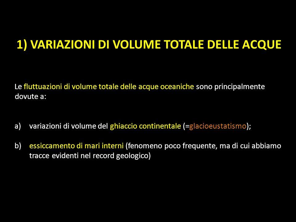 1) VARIAZIONI DI VOLUME TOTALE DELLE ACQUE Le fluttuazioni di volume totale delle acque oceaniche sono principalmente dovute a: a)variazioni di volume