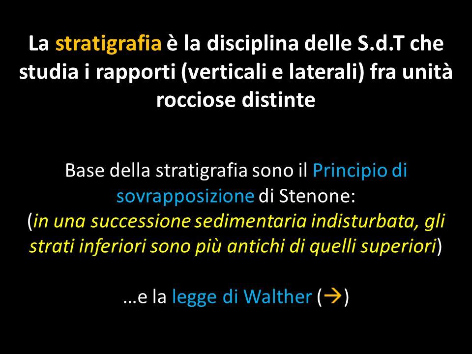 La stratigrafia è la disciplina delle S.d.T che studia i rapporti (verticali e laterali) fra unità rocciose distinte Base della stratigrafia sono il P