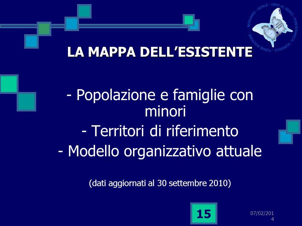07/02/2014 15 LA MAPPA DELLESISTENTE - Popolazione e famiglie con minori - Territori di riferimento - Modello organizzativo attuale (dati aggiornati al 30 settembre 2010)