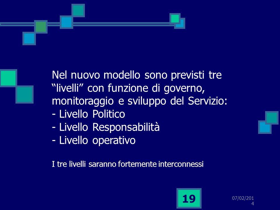 07/02/2014 19 Nel nuovo modello sono previsti tre livelli con funzione di governo, monitoraggio e sviluppo del Servizio: - Livello Politico - Livello Responsabilità - Livello operativo I tre livelli saranno fortemente interconnessi