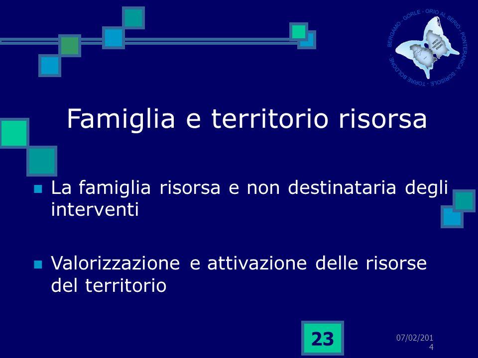 07/02/2014 23 Famiglia e territorio risorsa La famiglia risorsa e non destinataria degli interventi Valorizzazione e attivazione delle risorse del territorio