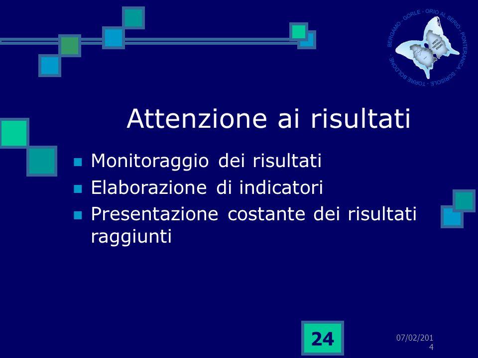 07/02/2014 24 Attenzione ai risultati Monitoraggio dei risultati Elaborazione di indicatori Presentazione costante dei risultati raggiunti