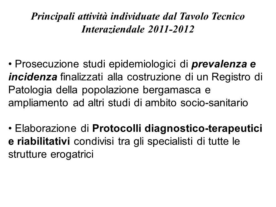 Principali attività individuate dal Tavolo Tecnico Interaziendale 2011-2012 Prosecuzione studi epidemiologici di prevalenza e incidenza finalizzati al