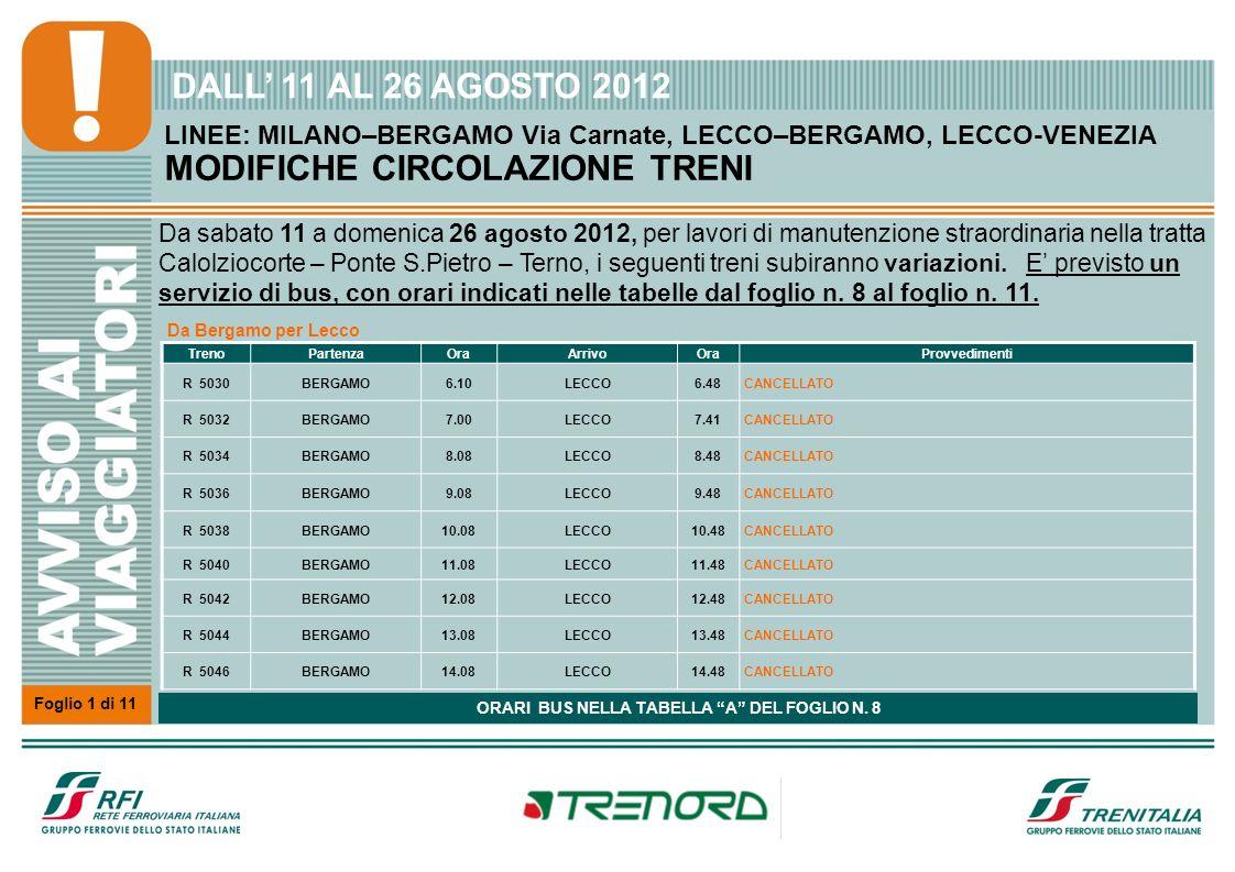 Foglio 1 di 11 * Arriva il giorno successivo alla partenza dalla stazione di origine Giorni 18,19 GIUGNO e 2, 3 LUGLIO 2011 LINEE: MILANO–BERGAMO Via