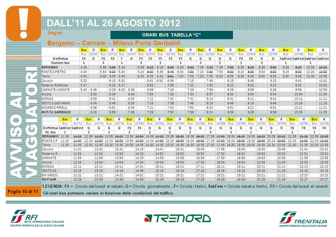 Segue Foglio 10 di 11 Bergamo – Carnate – Milano Porta Garibaldi DALL11 AL 26 AGOSTO 2012 BusR R R R R R R R R R R R 10545Bus10752Bus10547Bus10754Bus1