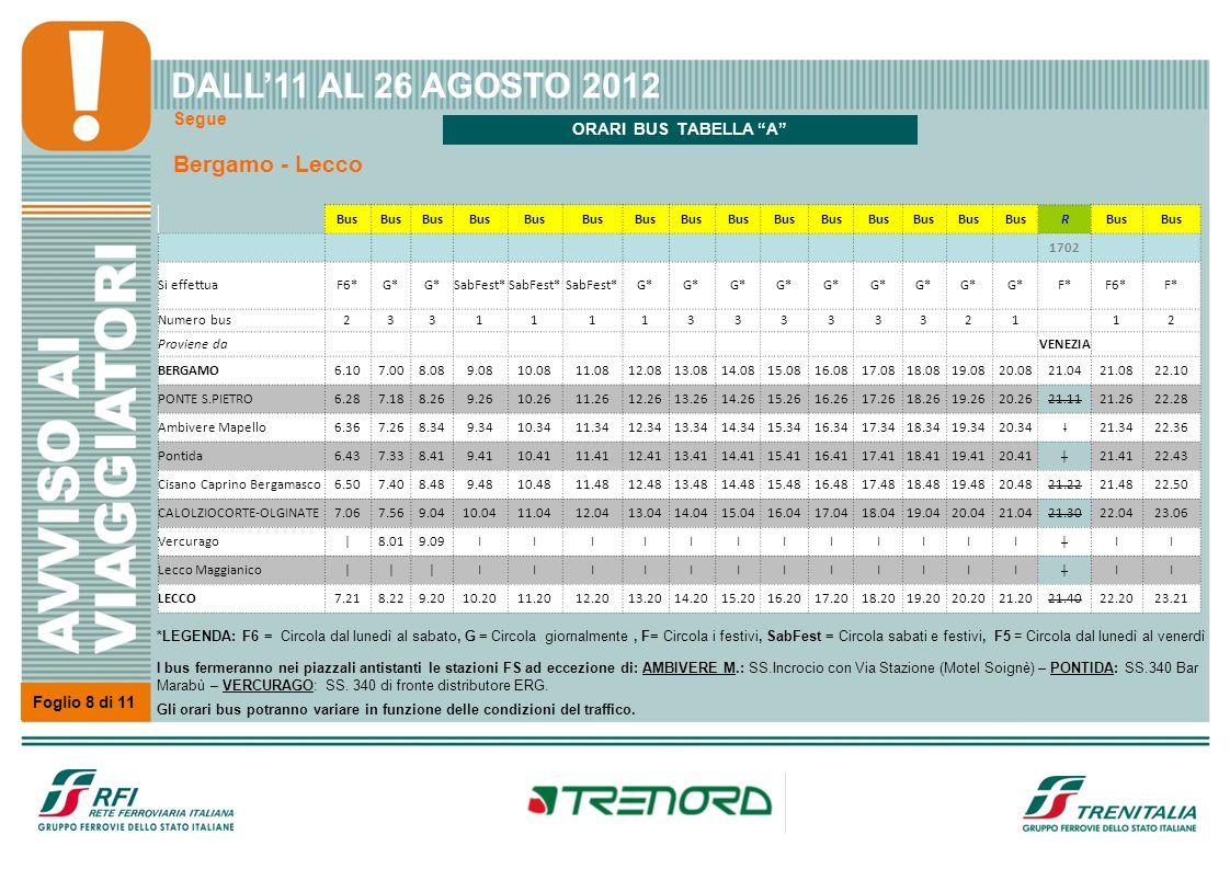 Segue Bergamo - Lecco Foglio 8 di 11 DALL11 AL 26 AGOSTO 2012 Bus R 1702 Si effettuaF6*G* SabFest* G* F*F6*F* Numero bus233111133333321 12 Proviene da
