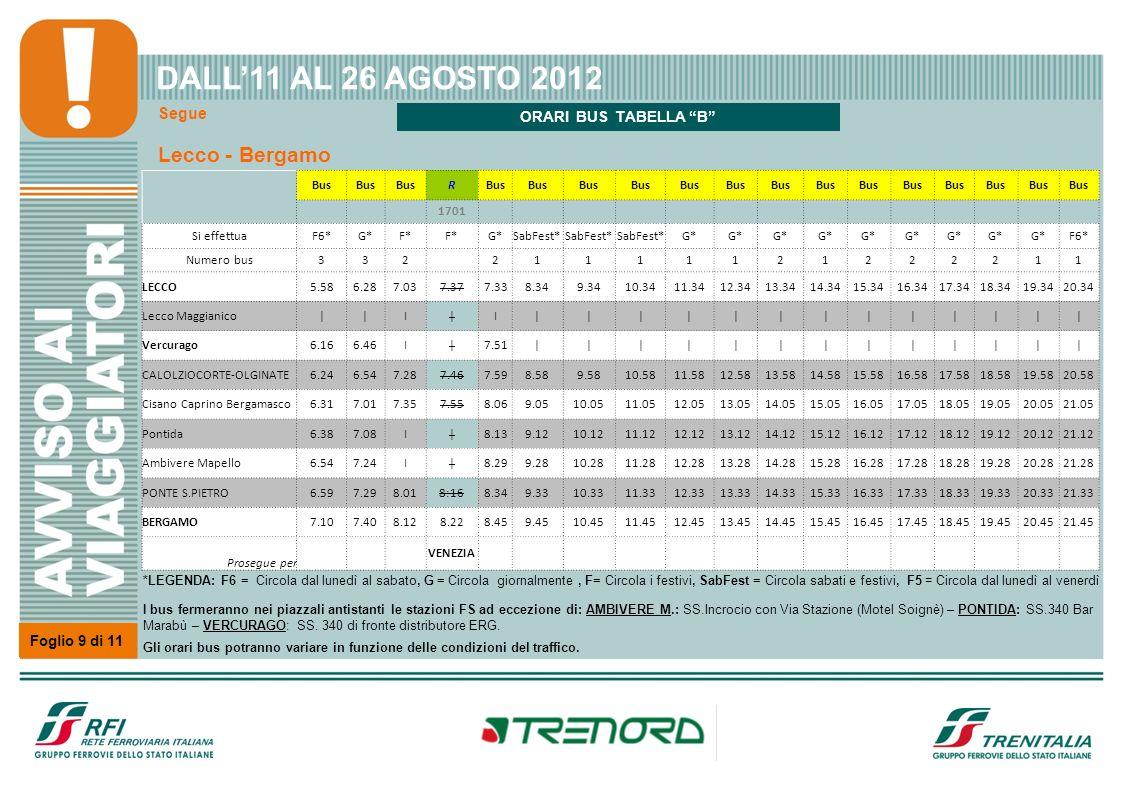 Segue Foglio 9 di 11 Lecco - Bergamo DALL11 AL 26 AGOSTO 2012 Bus R 1701 Si effettuaF6*G*F* G*SabFest* G* F6* Numero bus332 21111121222211 LECCO5.586.