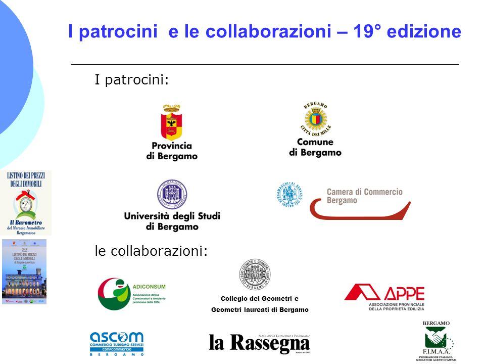 I patrocini e le collaborazioni – 19° edizione I patrocini: le collaborazioni: Collegio dei Geometri e Geometri laureati di Bergamo